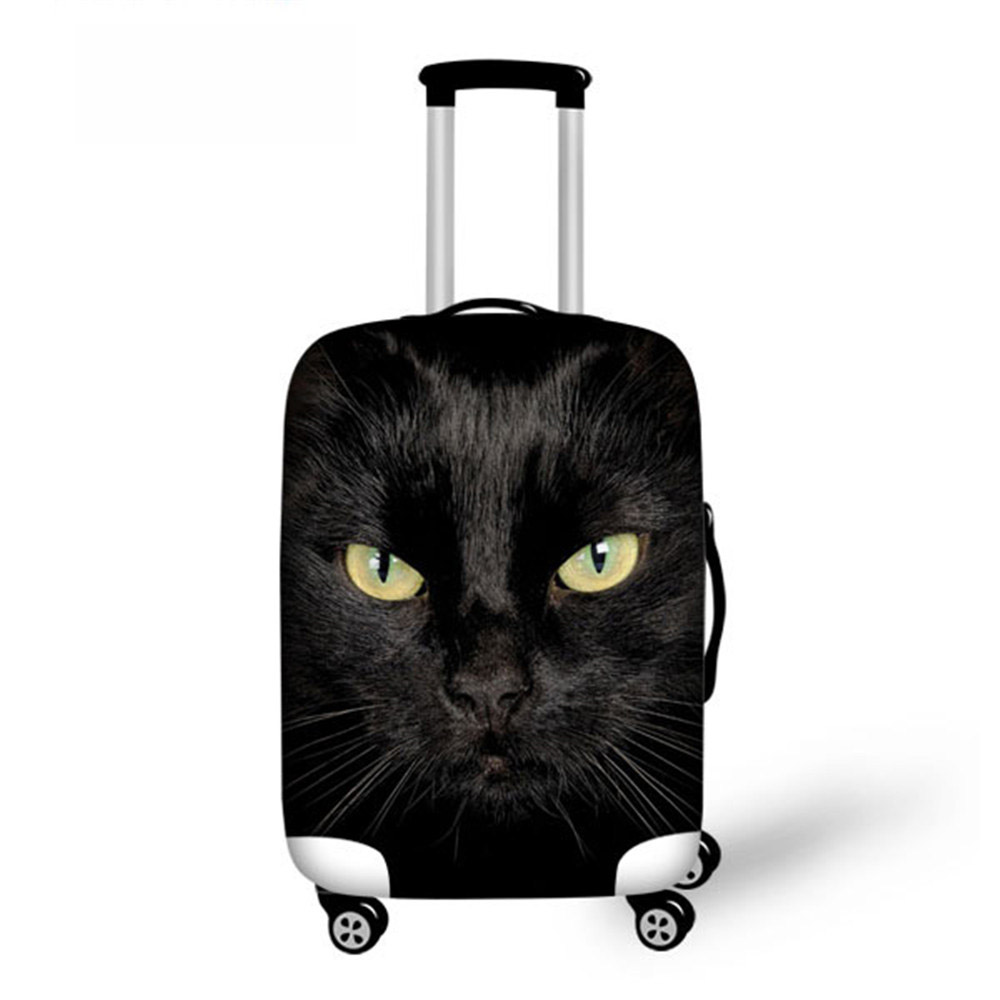 ThiKin Black Cat Printing Women Travel Waterproof Bags Luggage Cover Elastic Stretch Protect Suitcase Covers Apply To 18''-30''