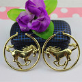 Popular woman jewelry wholesale girl birthday party gift horse round 18 k gold plated girl personality earrings free shipping!