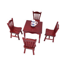 2019 New Cute Retro Dollhouse Accessories Mini Furniture Solid Wood Model Decorations Vintage Carved Chairs(China)