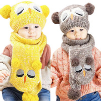 Unisex Winter Baby Hat Scaf Set Cute Owl Crochet Knitted Beanie Caps For Infant Boys Girls
