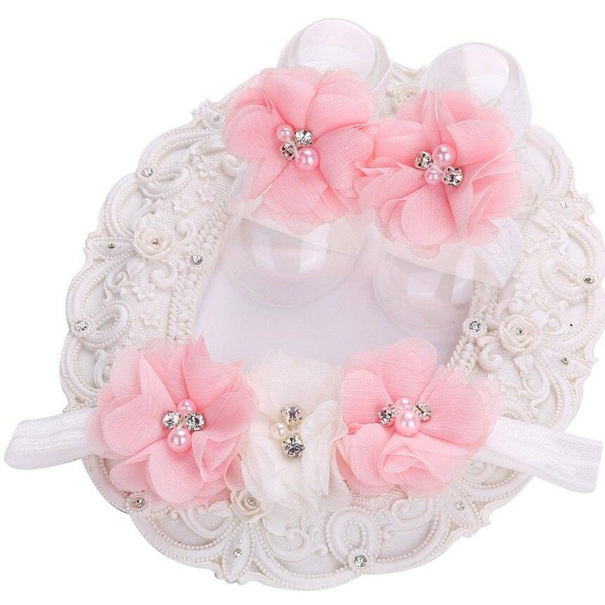 2016 Rosette Baby Mädchen Boutique Strass/perle Couture Sapato Infantil Mädchen Stirnband Barfuß Schuhe Spitze Set Elastische Einzelhandel
