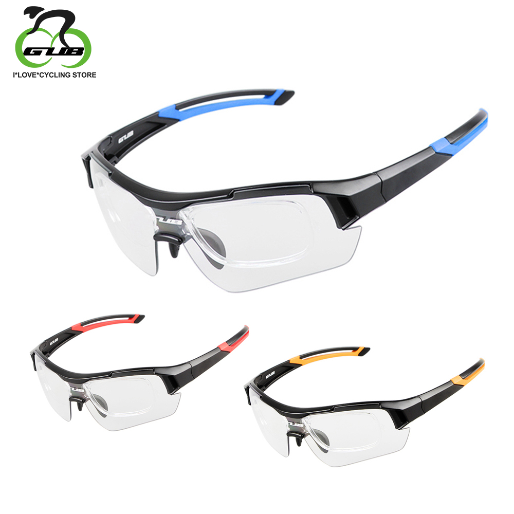 GUB Photochromic Cycling Glasses Discoloration Fishing Goggles Bike Sunglasses UV400 Bicycle Eyewear With Inner Myopia Frame 4 lens outdoor sports cycling glasses photochromic polarized men cycling eyewear sunglasses with myopia frame