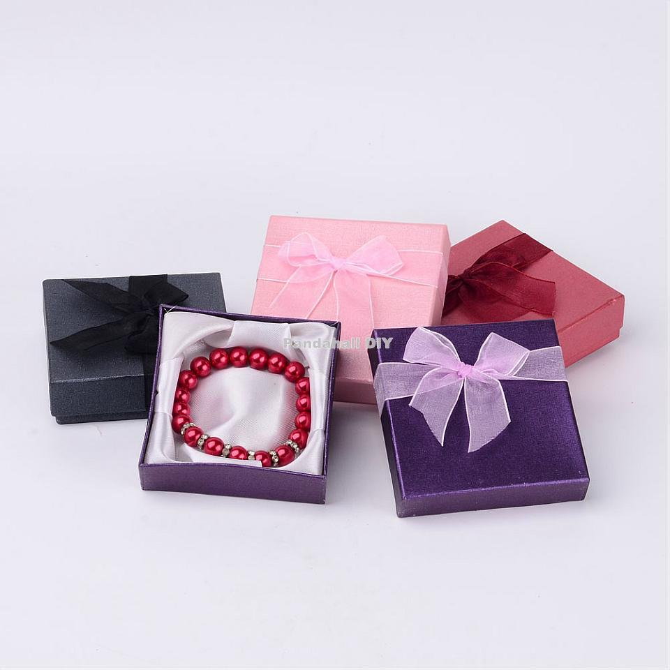 7Valentines Day Gifts Boxes Square Cardboard Bracelet Jewelry Packaging Mixed Color 9cmx9cmx2.7cm - PandaHall DIY store