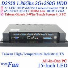 Desktop Mini All in One PC with high temperature 5 wire Gtouch industrial embedded 15 inch 4: 3 6COM LPT with 2G RAM 250G HDD