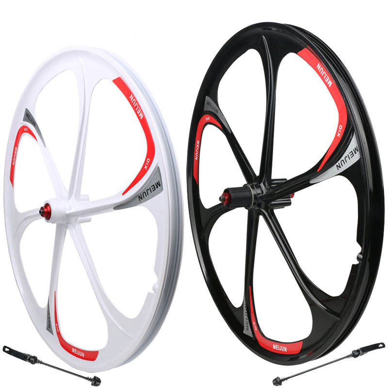 26-inch Mountain bike wheel aluminum-magnesium alloy 6-spoke wheels Quick release wheel Lightweight alloy bicyle wheels 1pcs magnesium alloy single speed fixed gear bike wheels 700c road racing venues inch wheel bicycle accessories