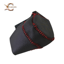 Genuine Leather Cover For Citroen Saxo C2 C4 C4 Picasso  manually Gear Shift Collar Knob & Handbrake Grip Red/Black Stitch