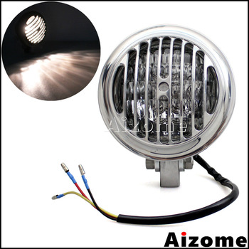 "Motorcycle Finned Grill Headlight 4"" Edge Headlamp For Harley Cafe Racer Chopper Bobber Polished Retro Custom Headlight"
