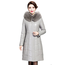 Women Faux Leather Winter Long Jacket Parkas 2017 New Ladies Large Fur Collar Hooded Warm Cotton-padded PU Coat Female Outerwear