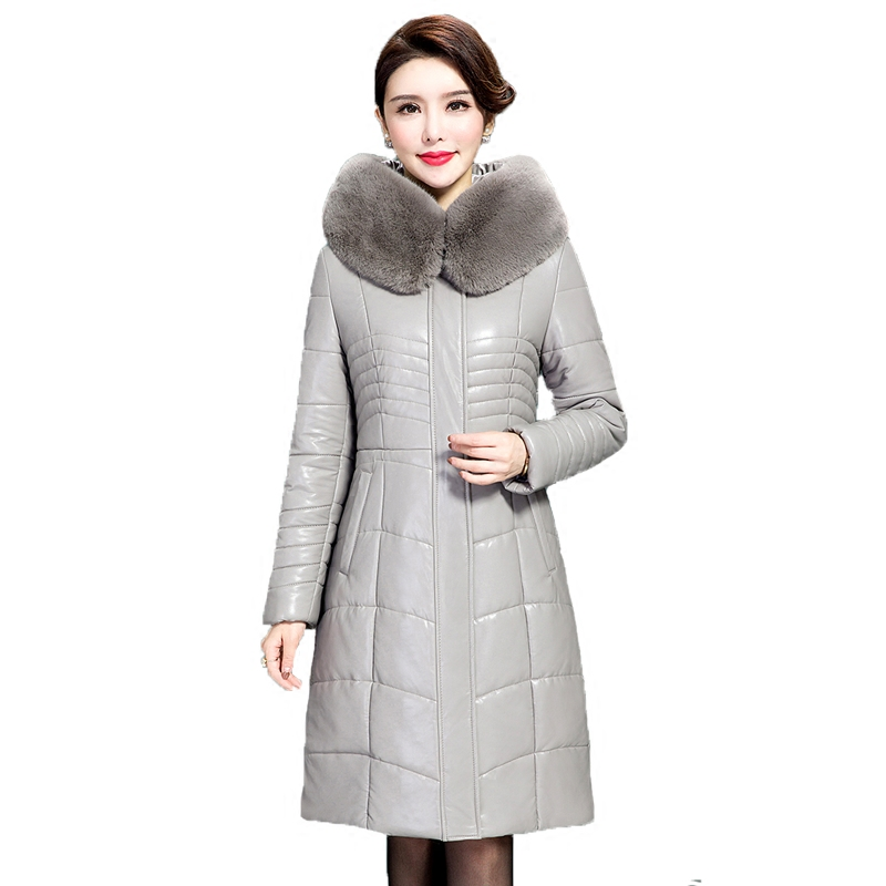 Women Faux Leather Winter Long Jacket Parkas 2017 New Ladies Large Fur Collar Hooded Warm Cotton-padded PU Coat Female Outerwear 2015 new noble leopard blending retro long leather fur jacket women s contrast color stitching faux fur coat female h1530