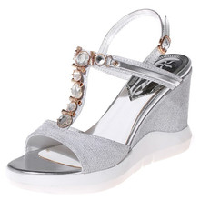 Plus size 34-42 Factory direct sale Women's Summer Shoes New Arrival Sexy Peep Toe Buckle rhinestone Sandals party wedding shoes