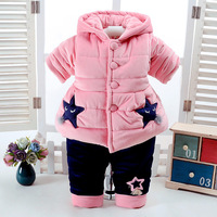 2018 New Winter Newborn Baby Girls Down Cotton Sets Toddlers Hooded 2pcs Velvet Thickening Warm Sets Infant Kids Clothing G27