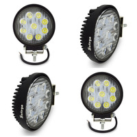 4PCS LED Work Light 4 Inch 27W Flood Fog Driving Lamp 12V For Motorcycle Tractor Truck