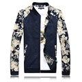Мужчины Куртка Цветочный пальто мужчины 2016 Новый Стиль Весна Осень молнии Повседневная мужская куртки и пальто Стенд Воротник Большой Размер 5XL