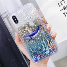 For iPhone X XS MAX Phone Case Coffee Cup whale Liquid Quicksand Silicone Cover For iPhone 8 Plus 7 Plus 6 6S Plus Phone bag for iphone x 6 6s 7 8 plus case fashion girl chat page coffee cup liquid quicksand silicone cover for iphone 8 plus phone bag