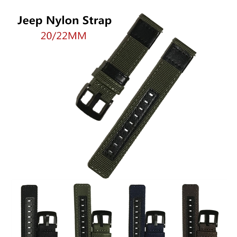 22mm 20mm Canvas Nylon + Genuine Leather Watchband For Armani Diesel Fossil Timex Jeep Quick Release Watch Band Wrist Strap