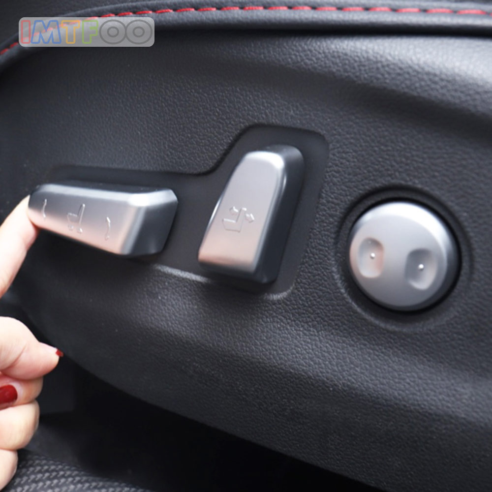 CHROME SEAT ADJUST BUTTON SWITCH COVER MOLDING <font><b>CASES</b></font> <font><b>FOR</b></font> <font><b>HYUNDAI</b></font> <font><b>TUCSON</b></font> <font><b>2019</b></font> 2020 ACCESSORIES CAR STYLING image