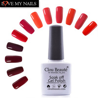 12Pcs/Set 10ml Clou Beaute Red Series Colors Soak Off Led Lamp Nail Gel Polish Primer Nail Varnish Gel Lacquer Nail Art Set