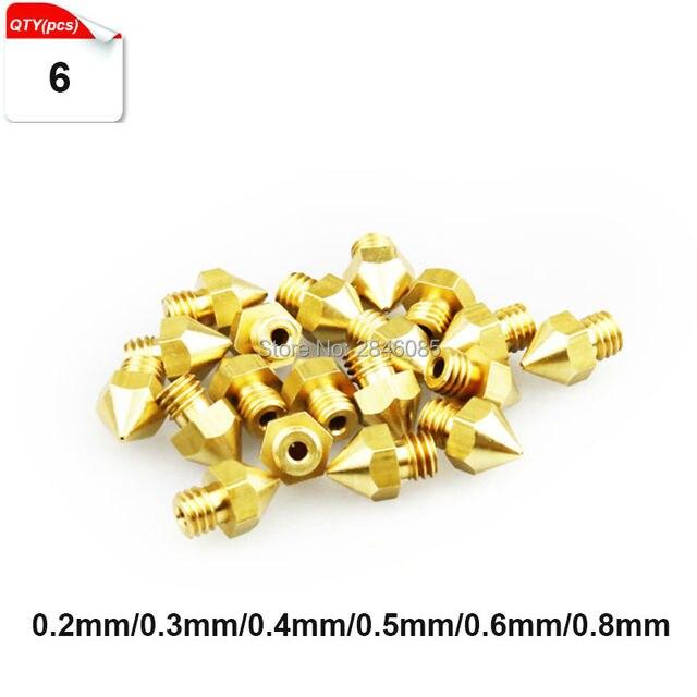 6 pcs/lot 3D Buse D'imprimante Mélange Taille 0.2mm/0.3mm/0.4mm/0.5mm/0.6 mm/0.8mm Pour 1.75mm Extrudeuse Tête D'impression En Laiton Buse MK8 Makerbot