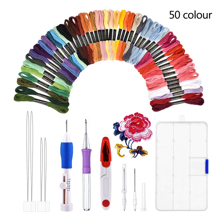 DIY Embroidery Pen Knitting Sewing Tool Kit Punch Needle Set 50 Threads Sets