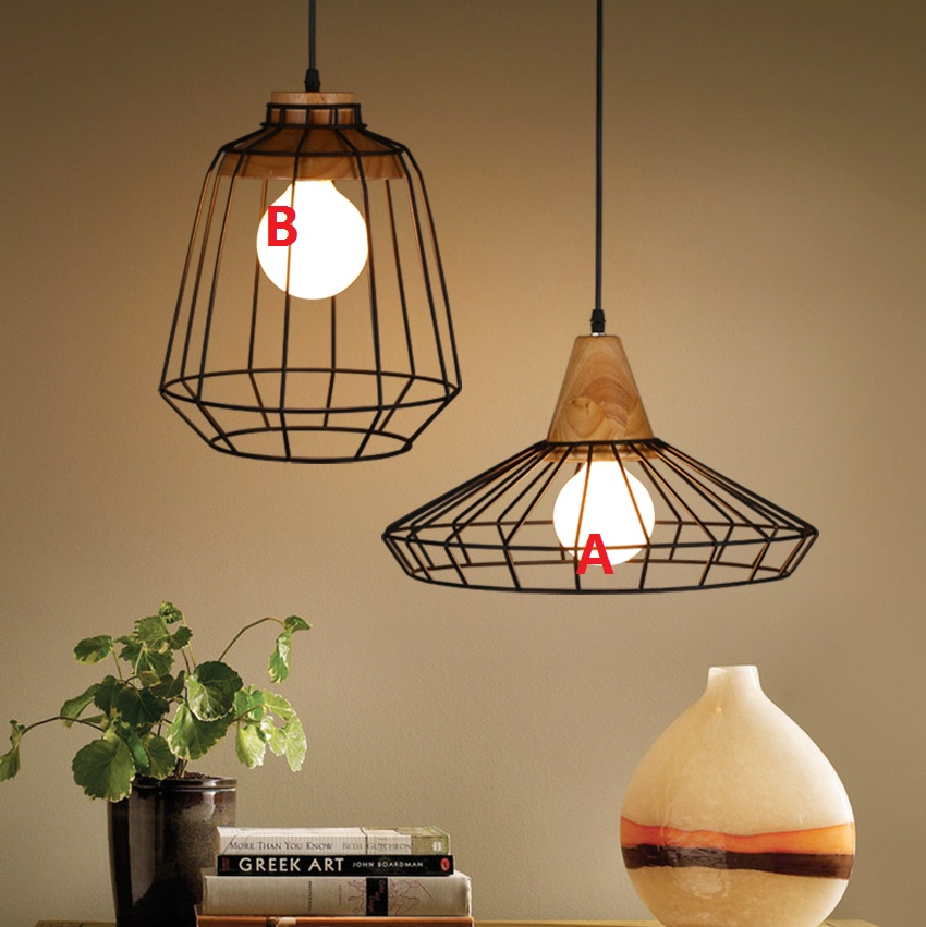 Nordic New Industrial Pendant Lamps American Country Wrought Iron Cage Light Fixtures Modern Kitchen Dining Room Lighting 220V