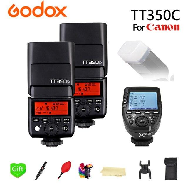 GODOX 2x TT350C 2.4G Wireless 1/8000s GN36 TTL HSS TT350-C Speedlite Flash Pocket Lights + Xpro-C Transmitter For Canon Camera
