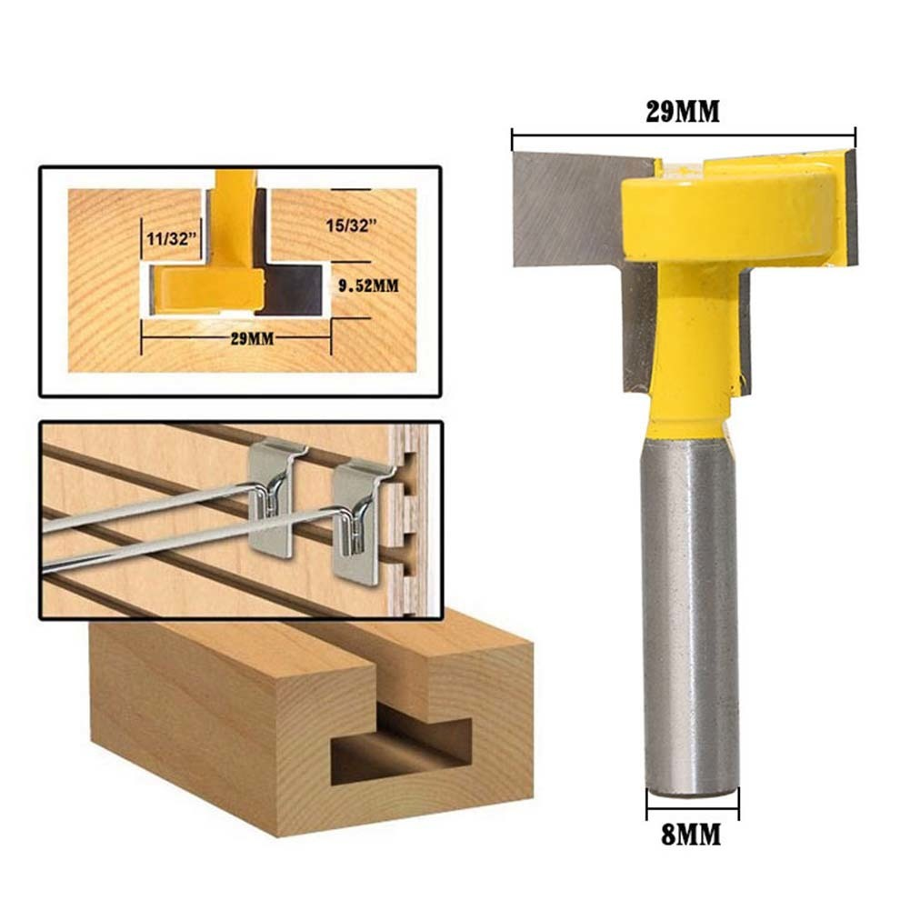 1 Pcs 8mm Handle Woodworking Milling Cutter Flutes Router Bit Woodworking Straight Flute T-Shape Tongue Groove Router Bit