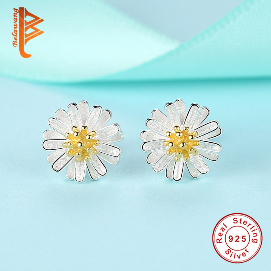 Belawang Pure 925 Sterling Silver Earrings Yellow Gold Color Daisy