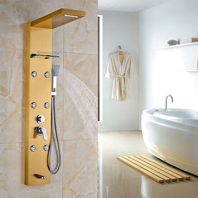 2016 New Arrival Best Quality Shower Faucet Shower Panel With ABS  Handshower Golden Finish In Shower Faucets From Home Improvement On  Aliexpress.com ...
