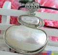 Hot sale Free Shipping>>>>>Big 48mm white mabe keshi pearl necklace crescent pendant