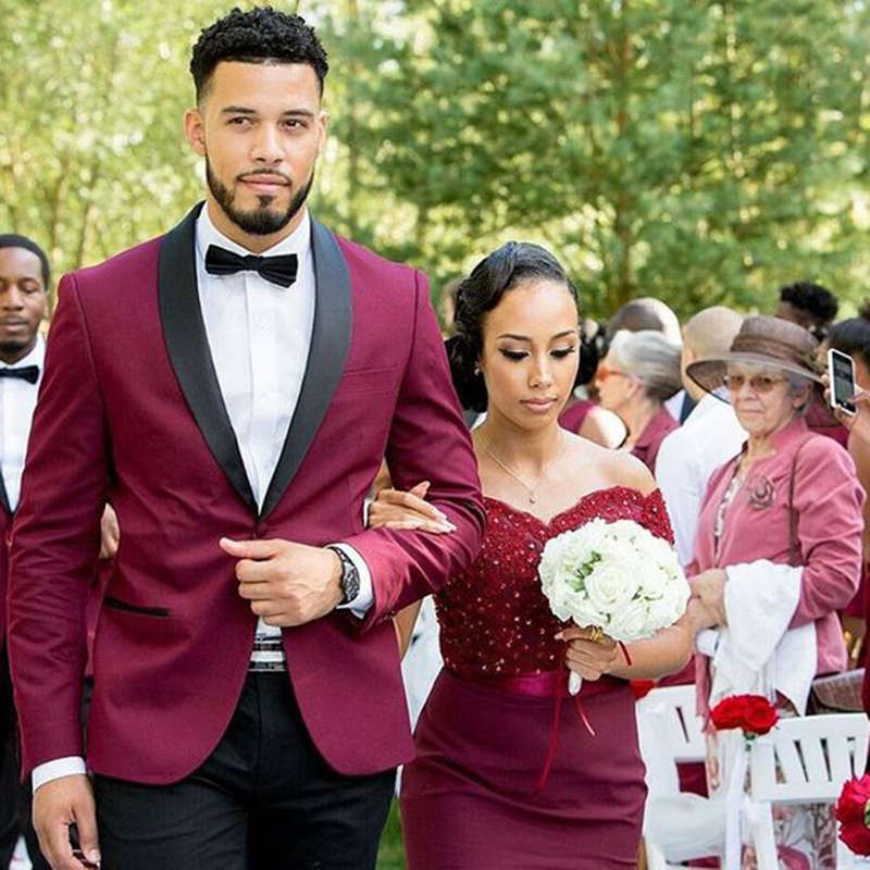 Burgundy Mens Slim Fit Suits Shawl Collar Groom Tuxedos Groomsmen Men Wedding Suit Costume Homme Blazer 2017 (Jacket+Pants+Tie)