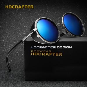 Image 3 - HDCRAFTER lunettes de soleil pour hommes et femmes, verres miroirs, style Steampunk, unisexe, Vintage, rétro