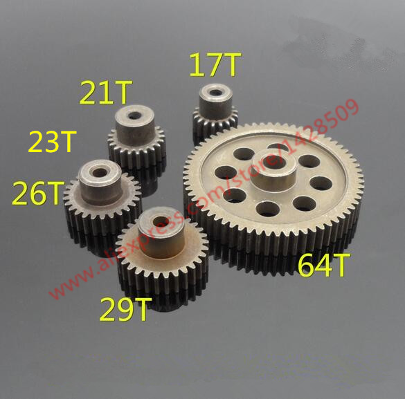 HSP 1:10 11184 Steel Metal Spur Different Main Gear 64T/21T/23T/29T/17T/26T Motor Pinion Gears 0.6 Module