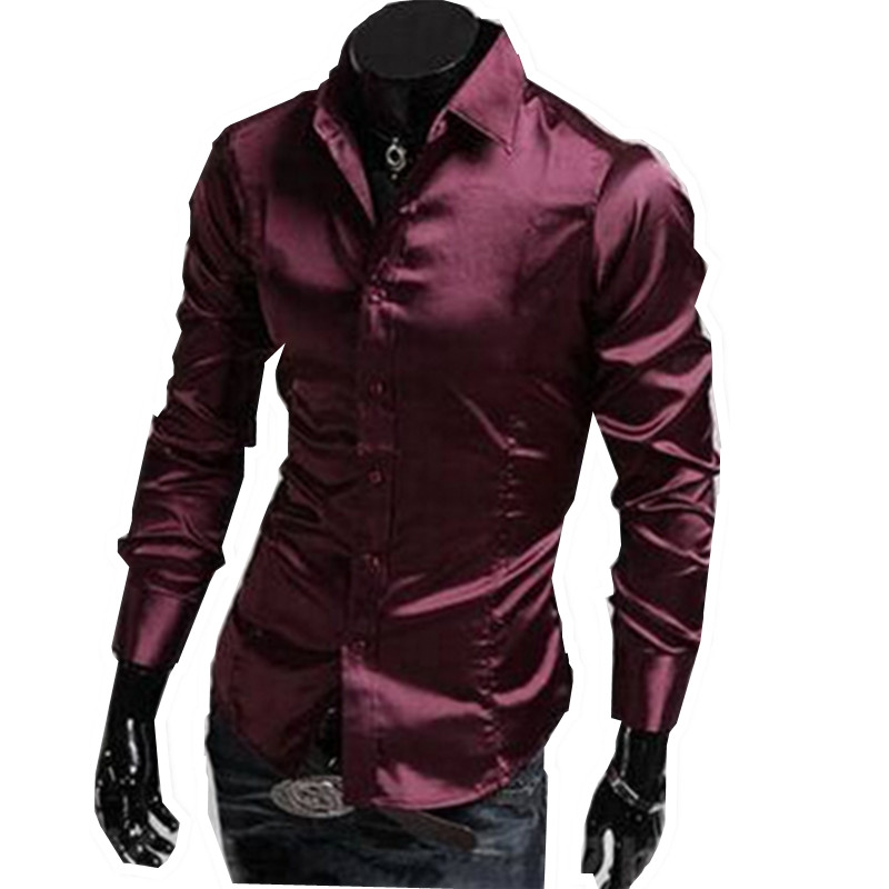 2017 New Dark Red Purple Mens Designer Men Dress Shirts