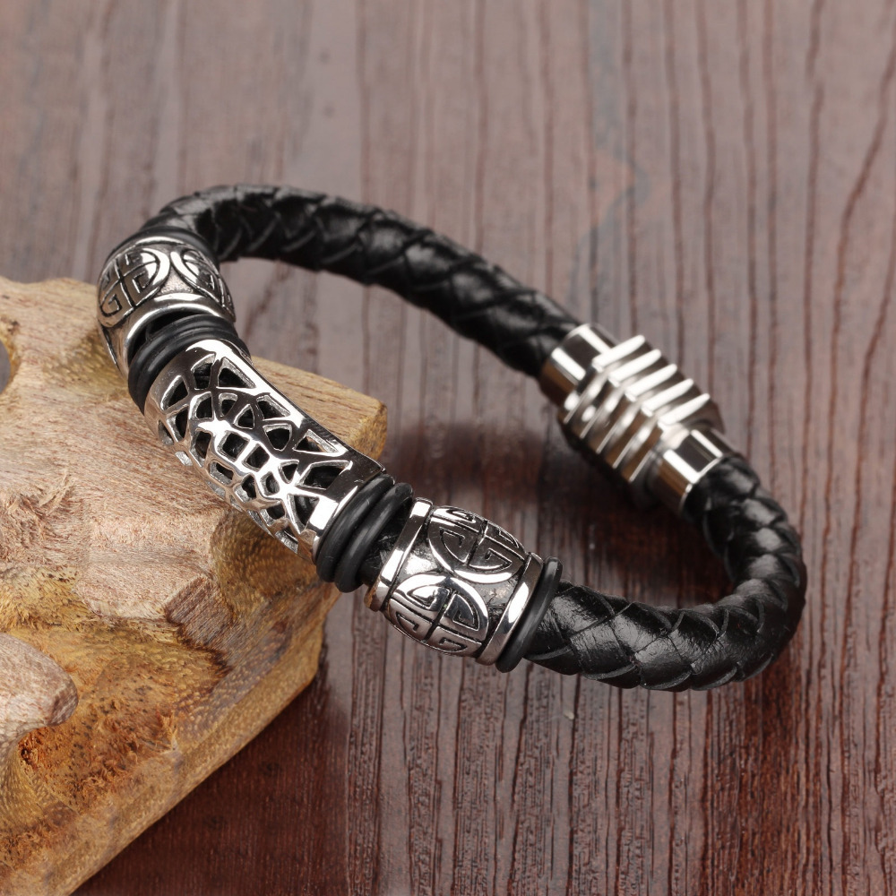 Real Leather Knitted Man Bangles Vintage Stainless Steel 4