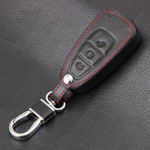 Кожаный Автомобильный пульт дистанционного управления с 3 кнопками, чехол-накладка для Ford Ranger C-Max S-Max Focus Galaxy Mondeo Transit Tourneo на заказ