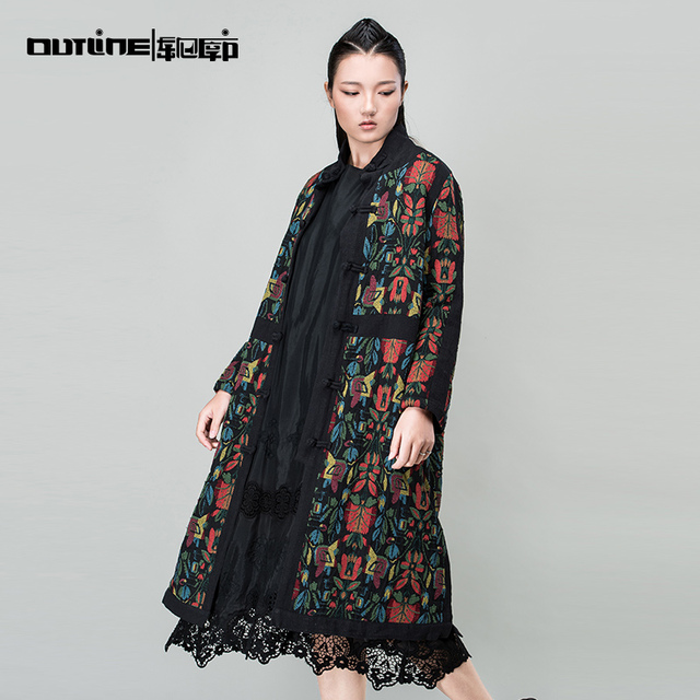 Outline Brand Women Loose Vintage Coat In Exotic Autumn Winter Long Trench With Patchwork Print Woman Thicken Trench L154Y034