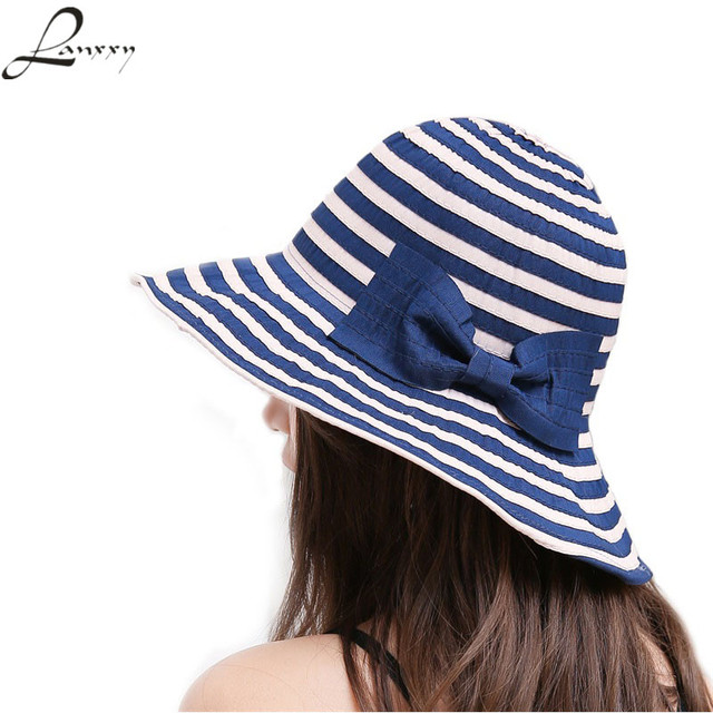 Lany New Fashion Striped Sun Hats Women Summer Beach Hat Cute Bowknot Panama Floppy Caps For