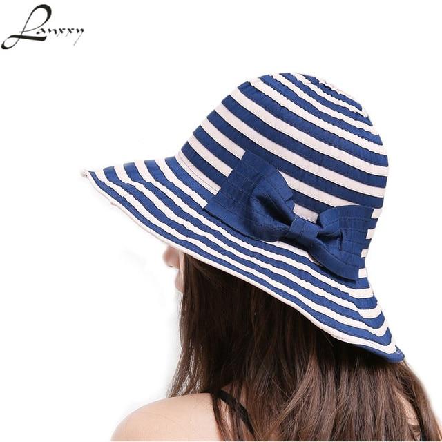Lanxxy New Fashion Striped Sun Hats Women Summer Beach Hat Cute Bowknot  Panama Floppy Caps for e228a4c1de66