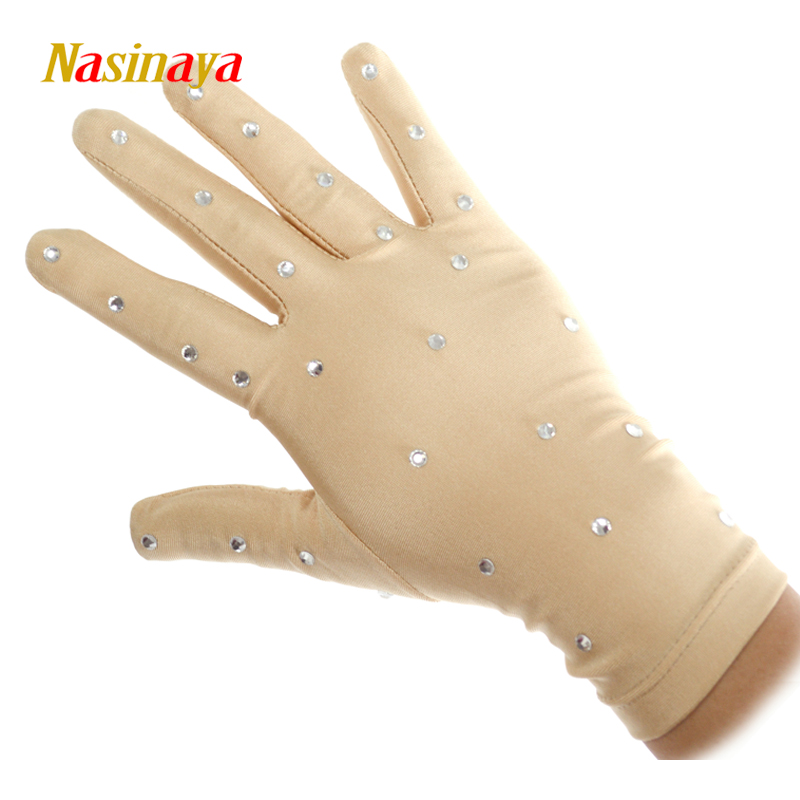 22 Colors Wrist Gloves Figure Skating Ice Training Gloves Exquisite Safety Child Adult Shiny Rhinestone Skin Color Black White