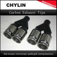 2 5 Inch Inlet Universal Remuse Car Exhaust Tips 304 Stainless Steel Automobile Dual Tips Exhaust