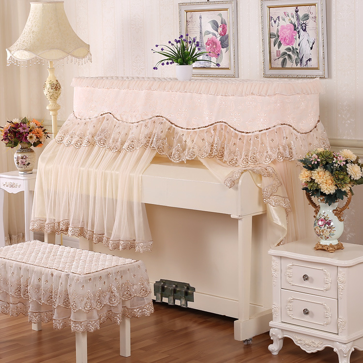 153cm*33cm*85cm European Lace Piano Cover Sets General Modern Dustproof Piano Cover Stool Seats Cover Home Decor|Piano Covers| |  - title=