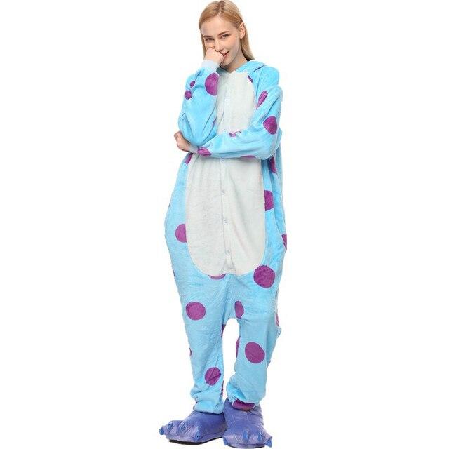 Winter Adult Women Animal Pajamas Flannel Pajama Sets Pijama Cartoon Cosplay Warm Sleepwear Homewear Unicorn Stitch Zebra Pyjama