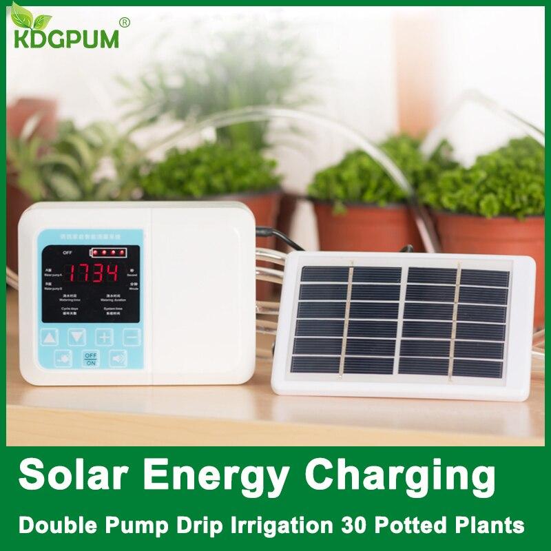 Neue Intelligente Garten Automatische Bewässerung Gerät Solar Energie Lade Topfpflanze Tropf Bewässerung Wasserpumpe Timer System