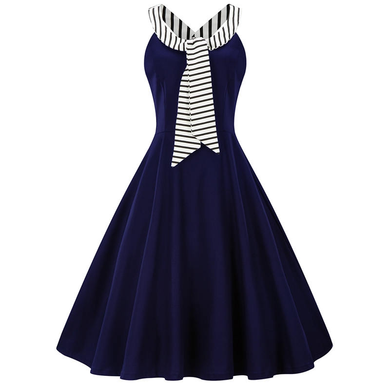 US $16.93 32% OFF|Vintage Audrey Hepburn Robe Striped Halter Dress Plus  Size 4XL Retro 50s 60 Rockabilly Pin up Big Hem Dresses Feminino  Vestidos-in ...