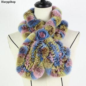 Image 1 - 2018 レックスウサギの毛皮のスカーフファッションネックウォーマー女性リアルファーショールロシア 100% 自然毛皮スカーフラップ冬 * Harppihop