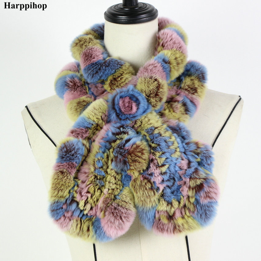 2018 Rex Rabbit Fur Scarf Fashion Neck Warmer Female Real Fur Shawl Russian 100% Nature Fur Scarves Wrap For Winter*Harppihop