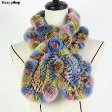 2018 ريكس الأرنب الفراء وشاح أزياء الرقبة أدفأ الإناث شال فرو الحقيقي الروسية 100% الطبيعة وشاح فرو التفاف لشتاء * Harppihop