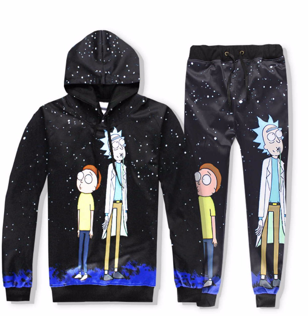 Casual Unisex Rick and Morty  Print Hoodies or Skinny Jeans (Sell by Separate) Anime Sweatshirt With Hat Spring Autumn Clothing Rick and Morty  Print Hoodies HTB1ycceQFXXXXb