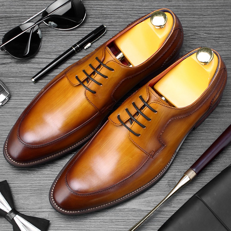 Classic Man Formal Dress Derby Shoes Genuine Leather Wedding Party Footwear High Quality Mens Round Toe Welted Flats SS426Classic Man Formal Dress Derby Shoes Genuine Leather Wedding Party Footwear High Quality Mens Round Toe Welted Flats SS426