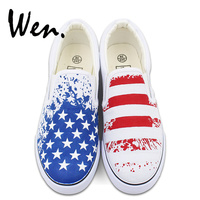 Wen Original Design American USA Flag Hand Painted Canvas Shoes Unisex Custom White Slip On Sneakers